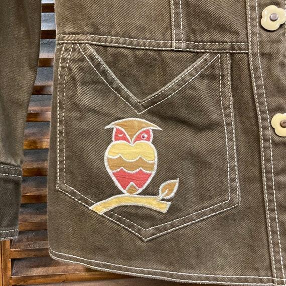 """Vintage 1960's """"Roncelli"""" Label Owl Design Denim … - image 7"""