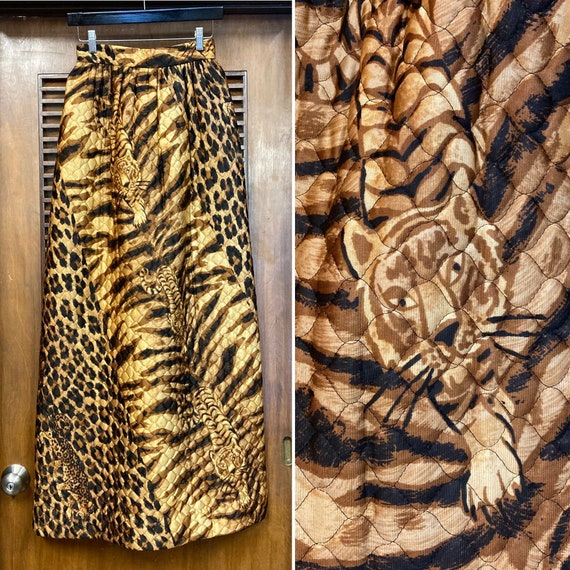 Vintage 1960's Animal Print Maxi Quilted Mod Skirt