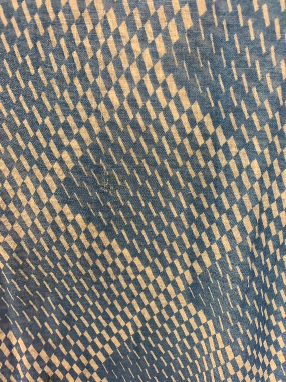 Vintage 1930's Blue & White Semi Sheer Optical Sq… - image 7