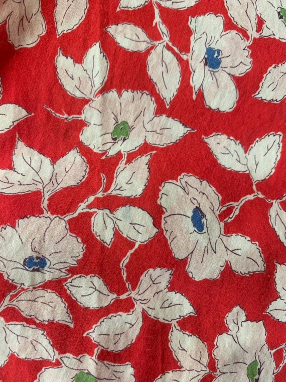 Vintage 1940's Red & White Floral Eyelet Cotton C… - image 6