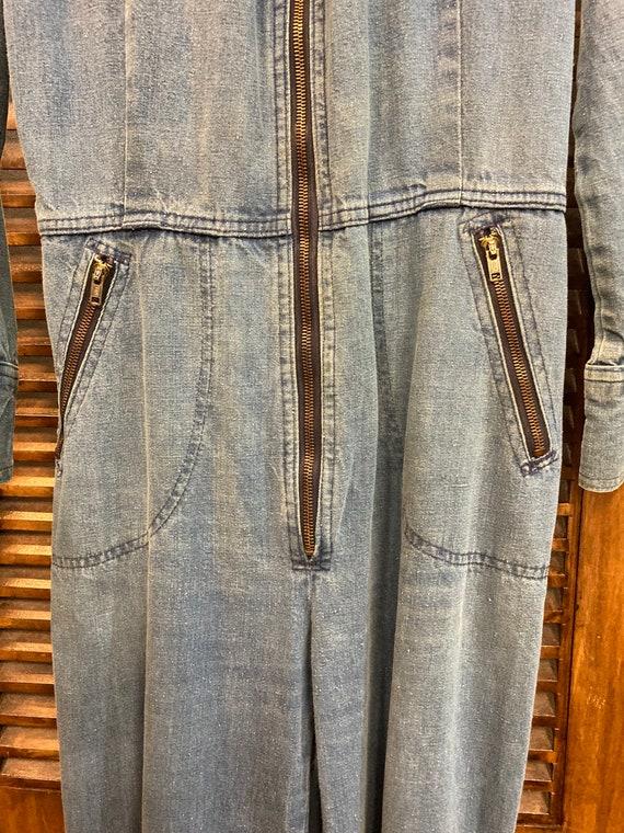 "Vintage 1970's ""Male"" Label Denim Jumpsuit with F… - image 7"