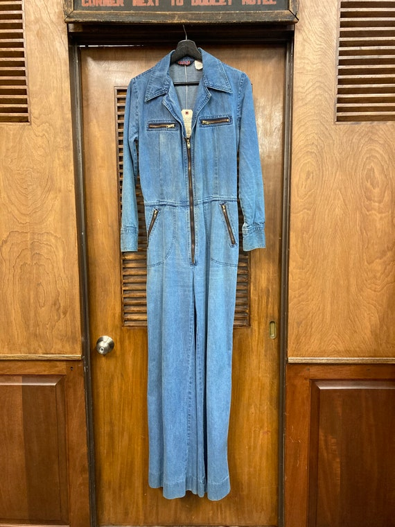 "Vintage 1970's ""Male"" Label Denim Jumpsuit with F… - image 2"
