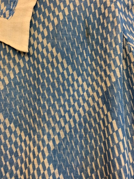 Vintage 1930's Blue & White Semi Sheer Optical Sq… - image 5