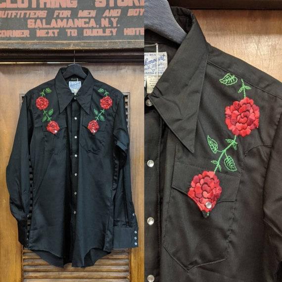 """Vintage 1960's """"Rockmount"""" Label Floral Western Sh"""