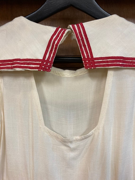 Vintage 1930's White Nautical Navy Sailor Tennis … - image 9