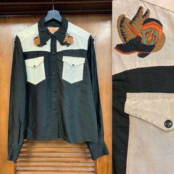 Vintage 1950's Style Black & Cream Western Cowboy