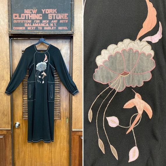 Vintage 1960's Black Floral Hummingbird Jersey Dre