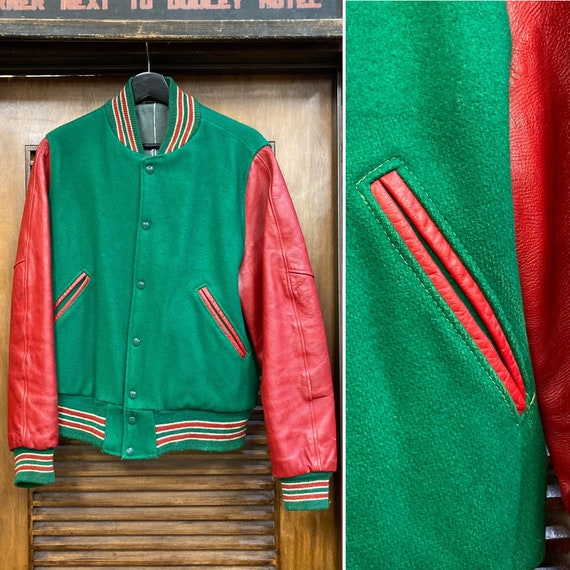 Vintage 1950's Letterman Wool and Leather Jacket,