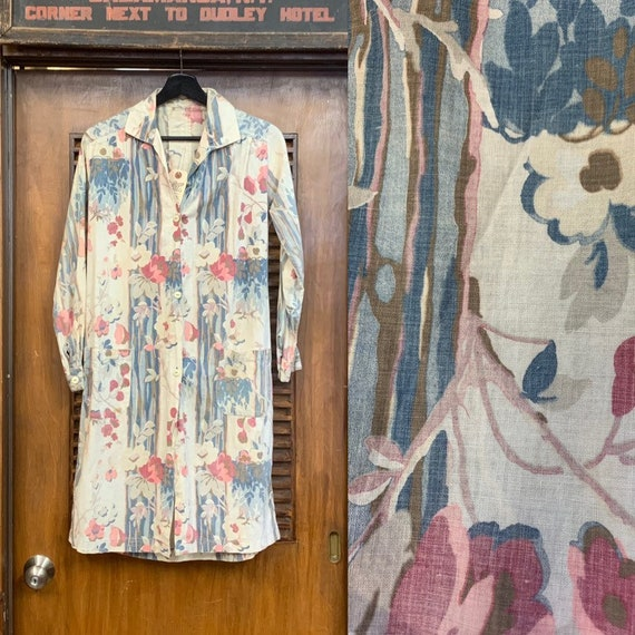 Vintage 1930's Floral Cotton Duster Coat, Vintage
