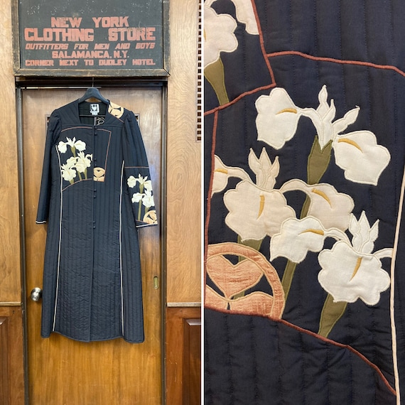 Vintage 1970's Black Quilted Floral Lily Long-slee