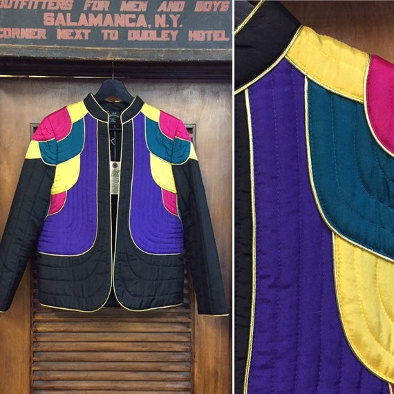 "Vintage 1980's ""Suzelle"" Silk Multi-Color Blazer C"