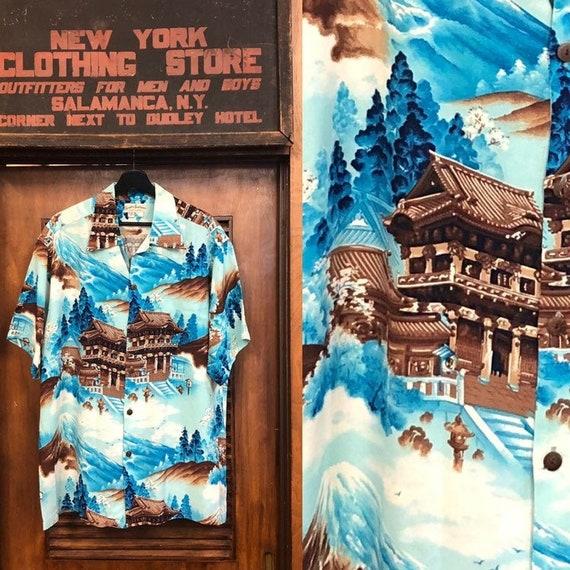 Vintage 1950's Japan Pagoda Crepe Hawaiian Shirt,