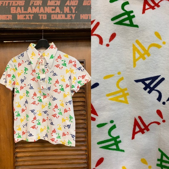 "Vintage 1960's / 1970's ""Ah!"" Pop Art Knit Polo To"