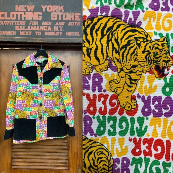 Vintage 1960's Tiger Cartoon Pop Art Corduroy & De