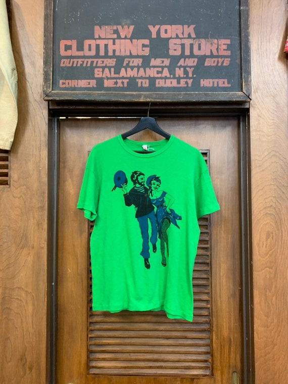 Vintage 1960's Beatnik Couple Green T-Shirt, Vinta