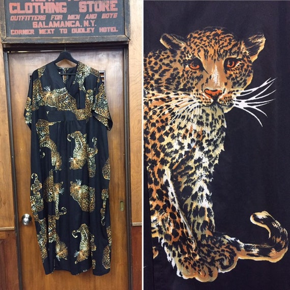 Vintage 1960's Leopard Print Caftan Dress, 1960's