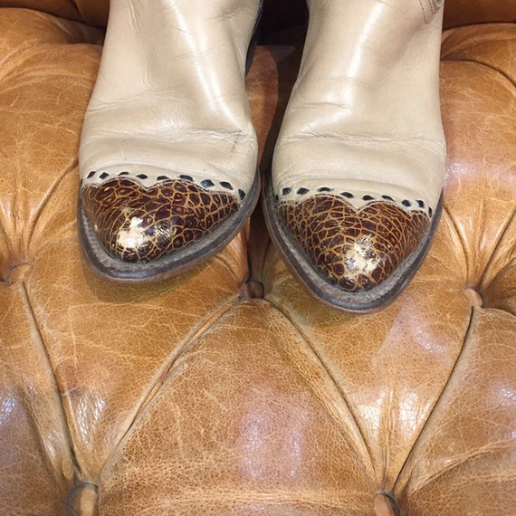 Vintage 1980's, Beige Leather Cowboy Boots, Weste… - image 3