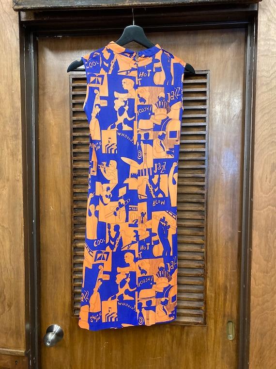 Vintage 1960's Jazz Music Pop Art Dress, Vintage … - image 9
