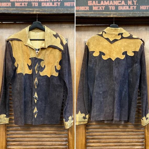 Vintage 1960's Two-Tone Hippie Rocker Suede Jacket
