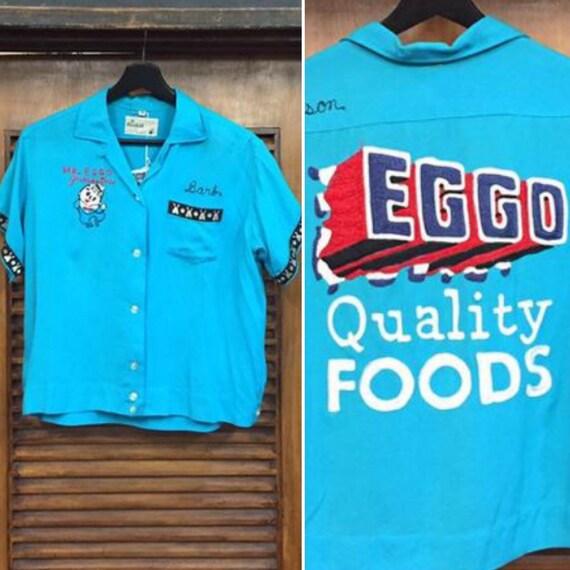 """Vintage 1950's Mr. Eggo """"Barb"""" Rayon Bowling Top,"""