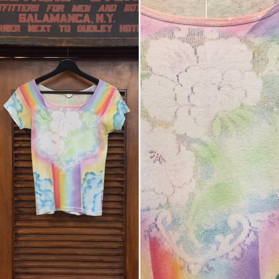 Vintage 1970's Hippie Rainbow Psychedelic Art Tee