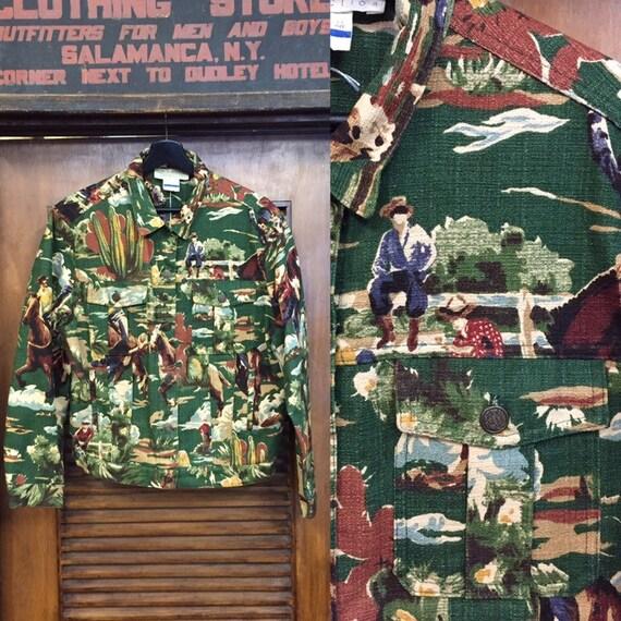 Vintage 1980's Cowboy Western Barkcloth Button Fro