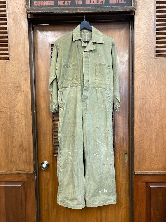 Vintage 1940's Green Military Workwear Coveralls,… - image 2