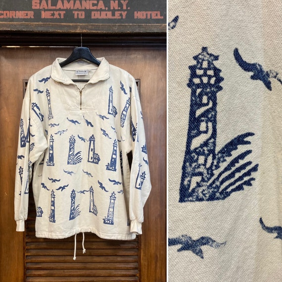 Vintage 1980's Nautical Lighthouse Print Pullover