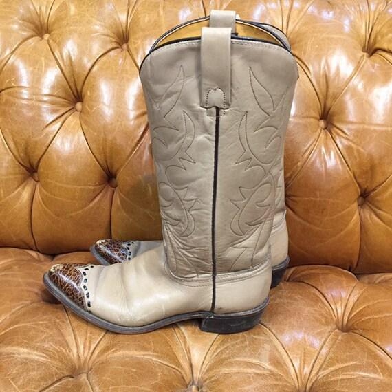 Vintage 1980's, Beige Leather Cowboy Boots, Weste… - image 2
