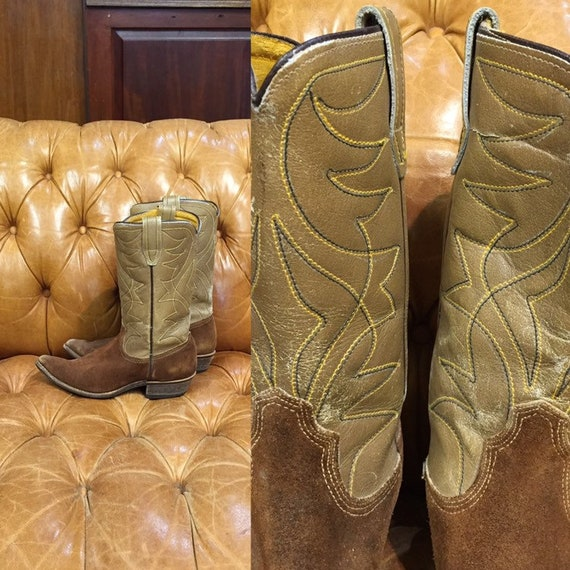 Vintage 1960's, Brown Western Boots, Leather And S