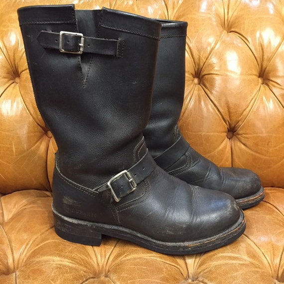 Vintage 1980s, Black Leather Boots, Motorcycle Bo… - image 2
