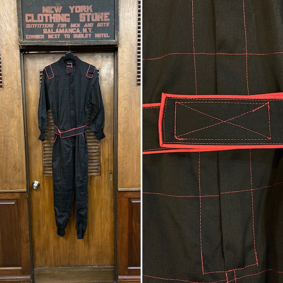 Vintage 1980's Black and Red Windowpane Jumpsuit,