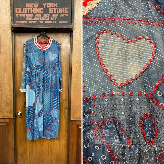 Vintage 1960's Calico Patchwork Dress, Vintage Cal