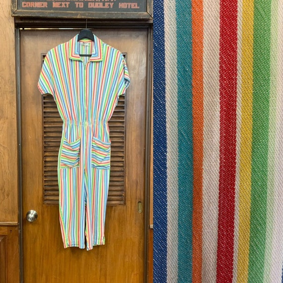Vintage 1960's Multi-Color Stripe Jumpsuit, Vintag