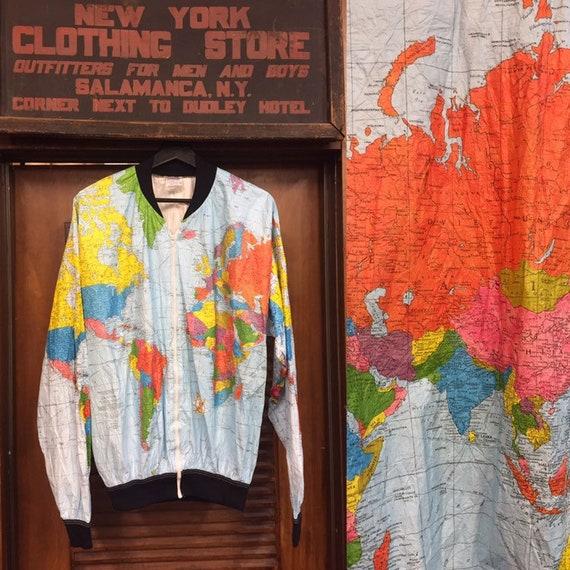 Vintage 1990's Map Print Bomber Jacket, Ty Jacket,