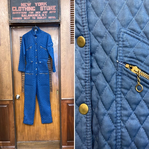 Vintage 1980's Blue Quilted Parachute Military New
