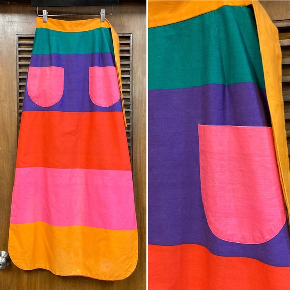Vintage 1960's Color Block Mod Cotton Maxi Skirt R