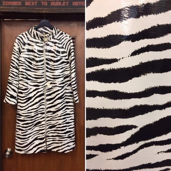 Vintage 1960s Zebra Print Mod Vinyl Coat, Vintage… - image 1