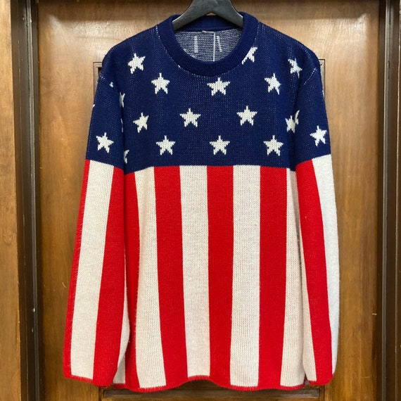 Vintage 1960's American Flag Pop Art Sweater, 60'… - image 3