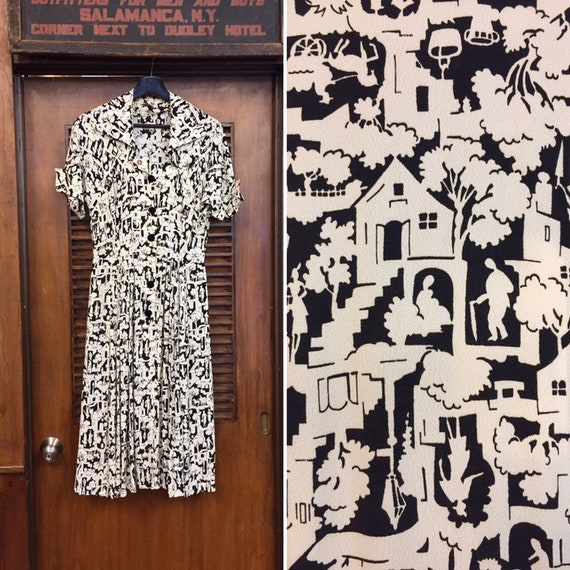 Vintage 1940's Black & White Novelty Print Rayon D