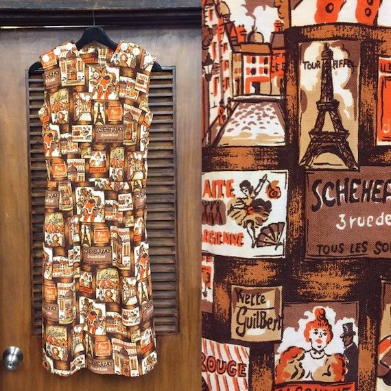 Vintage 1960's lllustrated Parisian Street Sheath