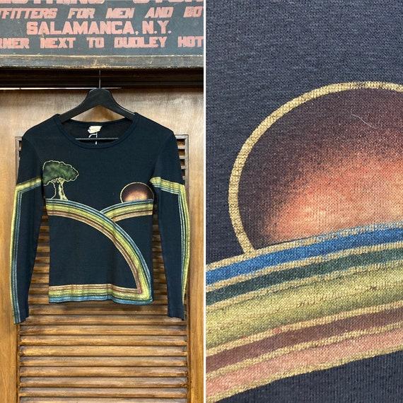 Vintage 1960's Glam Hippie Artwork Long Sleeve Bla