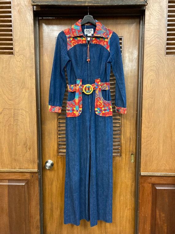 Vintage 1970's Denim Woven Jumpsuit, Vintage Jump… - image 2