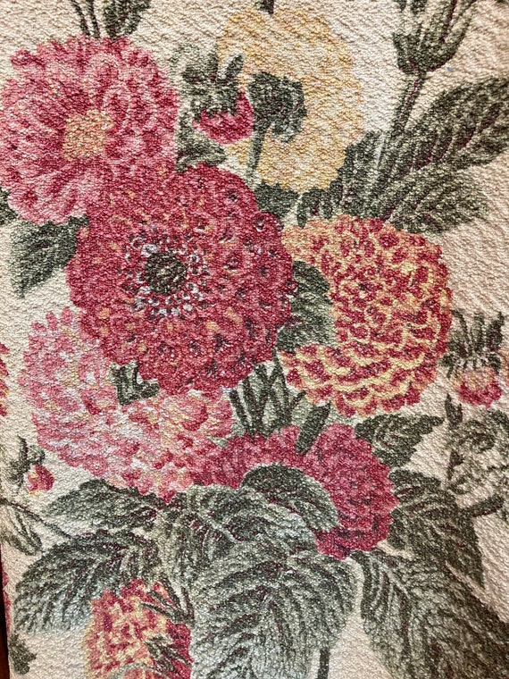 Vintage 1970's Denim Hippie Floral Tapestry Fabri… - image 7