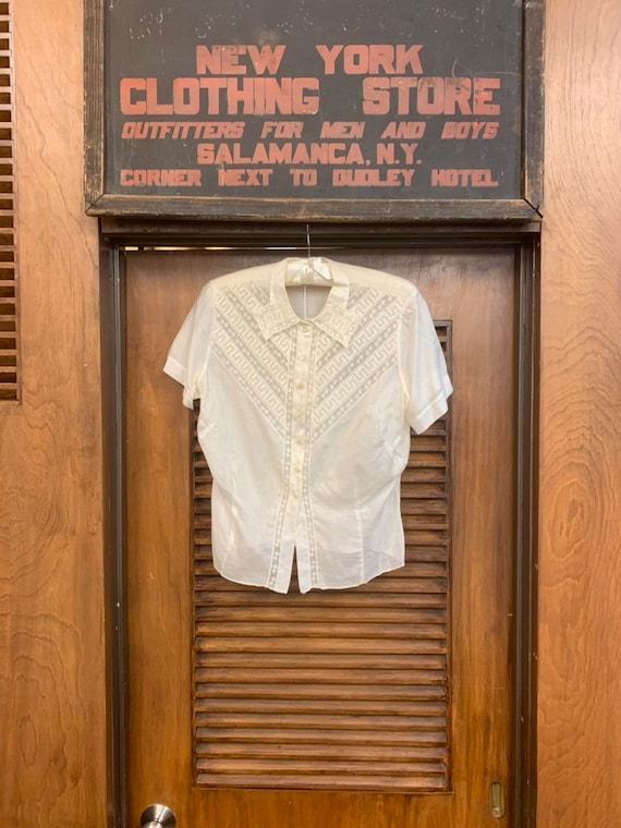 Vintage 1920's Lace & Cotton Blouse, Vintage Clot… - image 2