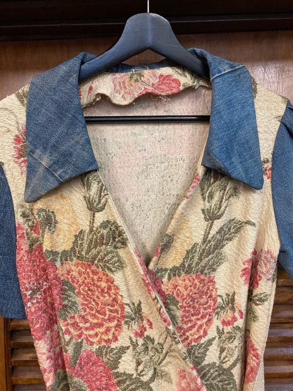 Vintage 1970's Denim Hippie Floral Tapestry Fabri… - image 3