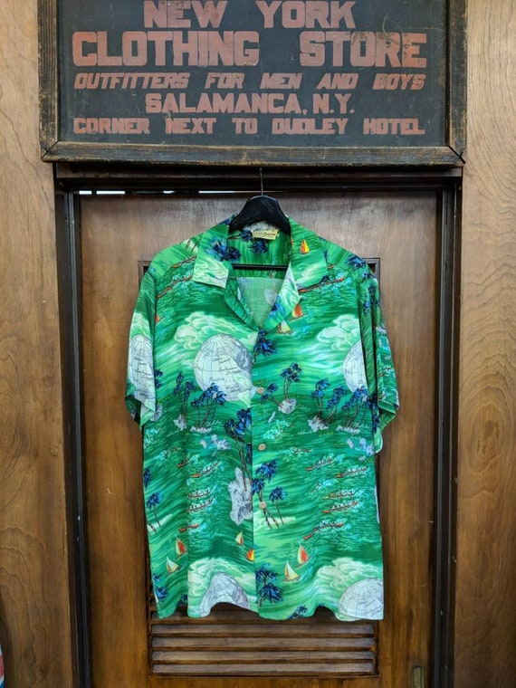Shirt Jaren Tropische MetEtsy Crêpe Vintage Hawaiian 1950 Iolani iXlwOPZukT