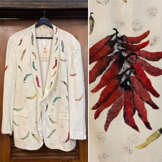 Vintage 1960's Artwork Chile Pepper Shawl Collar … - image 1