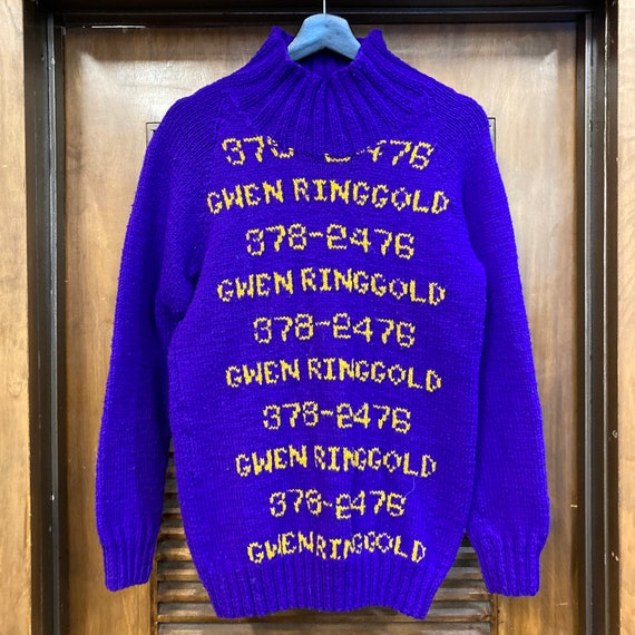 Vintage 1960's Hand Knit Pop Art Phone Numbers Sw… - image 3