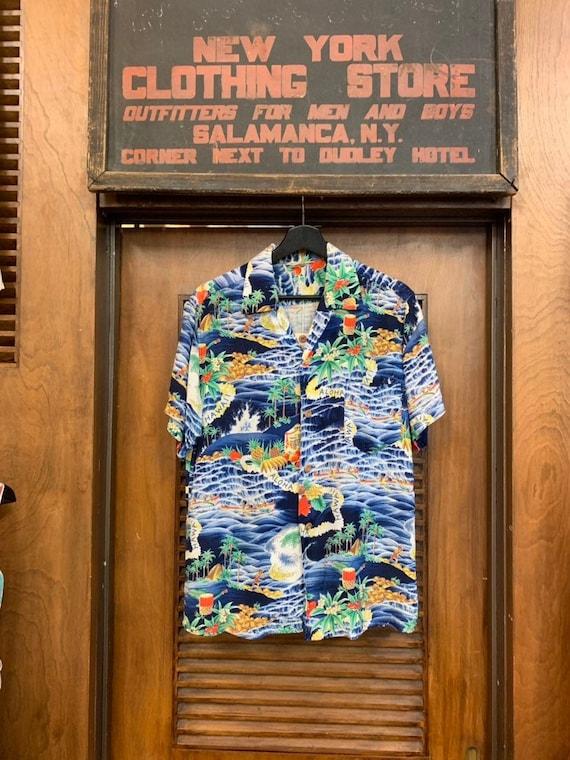 "Vintage 1950's Men's Blue ""Aloha"" Print Crepe Fabr"
